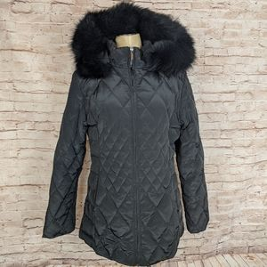 Anne Klein Quilted Down Puffer Jacket Parka